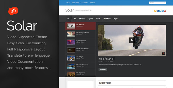 Solar WordPress video theme